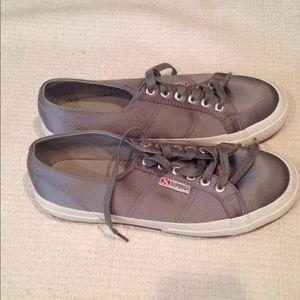 Grey Satin Superga sneakers